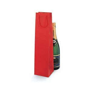 Shopper laccata lucida per 1 bottiglia, 10 x 40 x 10 cm, Rosso (confezione 25 pezzi)