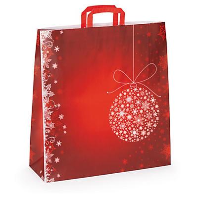 Shopper Natalizia maniglie piatte fantasia palle di Natale