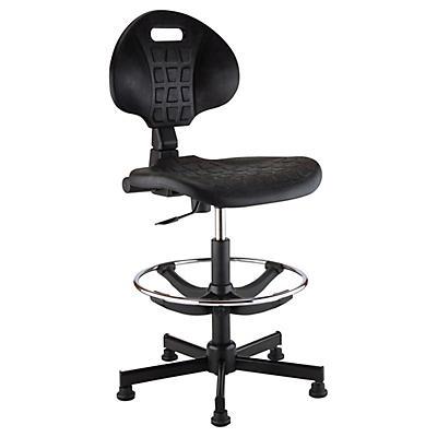 Siège d'atelier haut piétement noir##Hoge magazijnstoel met nylon voet