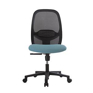 Siège de bureau Clint blanc sans accoudoir - Assise tissu M1 bleue et dossier maille filet noir