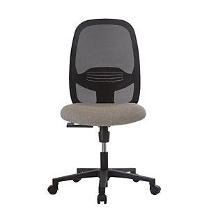 Siège de bureau Clint noir sans accoudoir - Assise tissu M1 grise et dossier maille filet noir
