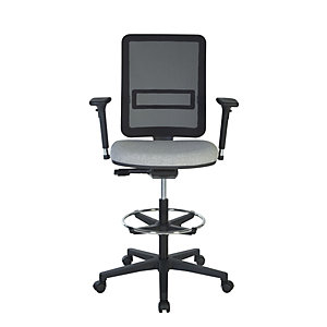 Siège haut Work Up Office, dossier mesh noir/ assise tissu non feu M1 gris