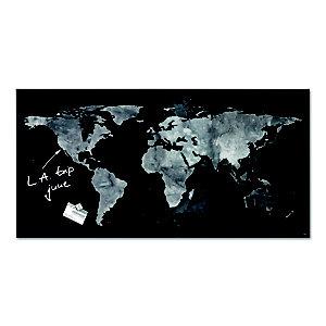 sigel Artverum tableau magnétique design, surface en verre trempé ultra-brillant - 91 x 46 cm - Aspect Carte mondiale