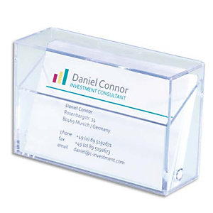 SIGEL Boîte pour cartes de visite plastique rigide, capacité 100 cartes L9,5 x H6 x P3 cm transparent