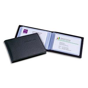 SIGEL Porte-cartes aspect cuir noir mat avec 20 pochettes, capacité 40 cartes L11 x H7,5 x P1,2 cm