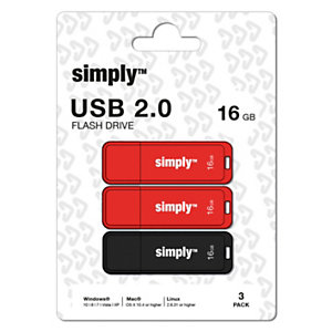 Simply Flash Drive 16 GB USB 2.0 con cappuccio, Rosso e Nero,