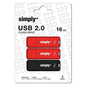 Simply Unidad flash USB 2.0 de 16 GB con tapa, rojo y negro
