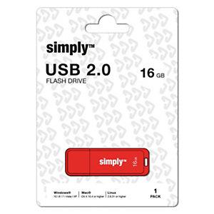 Simply Unidad flash USB 2.0, 16GB, con tapa, rojo