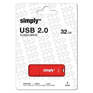 Simply Unidad flash USB 2.0, 32 GB, con tapa, rojo