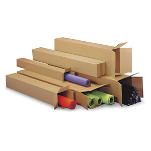 Long cardboard boxes are ideal for rolled goods