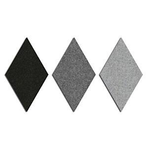 Sistema fonoassorbente e decorativo a moduli romboidali Wallcovering, Lato 30 cm, Grigio (kit 9 moduli)