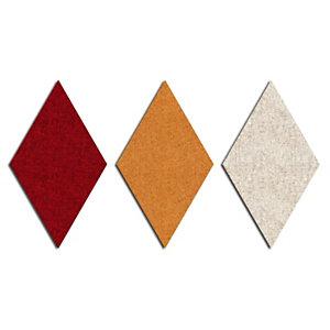 Sistema fonoassorbente e decorativo a moduli romboidali Wallcovering, Lato 30 cm, Rosso (kit 9 moduli)