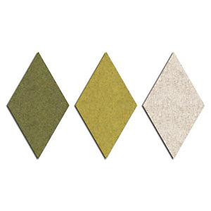 Sistema fonoassorbente e decorativo a moduli romboidali Wallcovering, Lato 30 cm, Verde (kit 9 moduli)
