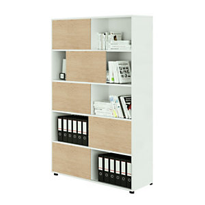 Sliding Libreria componibile con 5 ante scorrevoli, 120 x 35 x 190,6 cm, Bianco/Rovere