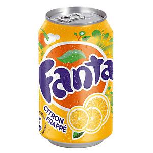 Soda Fanta Citron Frappé, en canette, lot de 24 x 33 cl