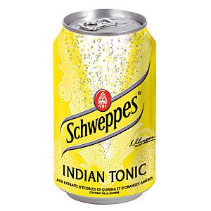 Soda Schweppes Indian Tonic, en canette, lot de 24 x 33 cl