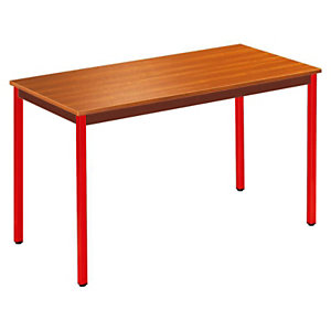 SODEMATUB Dominos Mesa modular rectangular, 120 x 60 cm, teca / patas rojas
