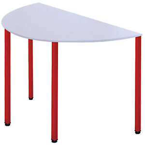 SODEMATUB Dominos Mesa modular semicircular, 120 (Ø) cm, gris / patas rojas