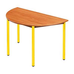 SODEMATUB Dominos Mesa modular semicircular, 120 (Ø) cm, teca / patas amarillas