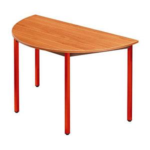 SODEMATUB Dominos Mesa modular semicircular, 120 (Ø) cm, teca / patas rojas