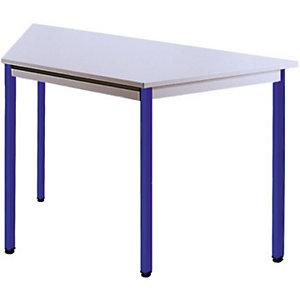 SODEMATUB Dominos Mesa modular trapezoidal, 120 x 60 x 50 cm, gris / patas azules