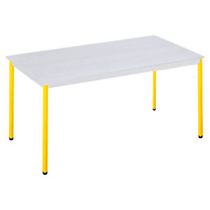 SODEMATUB Polivalente Mesa rectangular, 120 x 60 cm, gris / patas amarillas