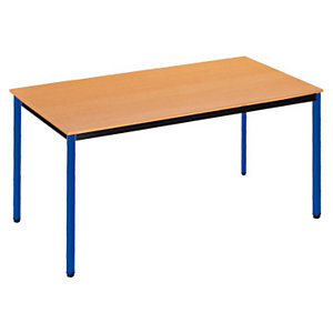 SODEMATUB Polivalente Mesa rectangular, 120 x 60 cm, haya / patas azules