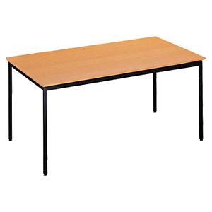 SODEMATUB Polivalente Mesa rectangular, 120 x 60 cm, haya / patas negras