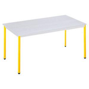 SODEMATUB Polivalente Mesa rectangular, 140 x 70 cm, gris / patas amarillas
