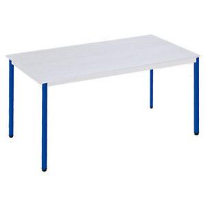 SODEMATUB Polivalente Mesa rectangular, 140 x 70 cm, gris / patas azules