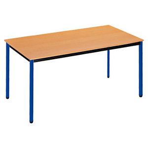 SODEMATUB Polivalente Mesa rectangular, 160 x 80 cm, haya / patas azules