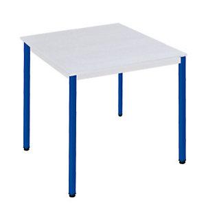 SODEMATUB Polivalente Mesa rectangular, 70 x 60 cm, gris / patas azules