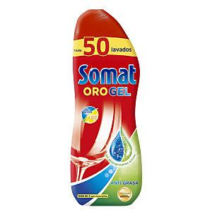 Somat ORO Gel Anti-Grasa Detergente líquido para máquina lavavajillas, 1000 ml, 50 lavados