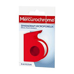 Sparadrap microporeux Mercurochrome 5 m x 2,5 cm, 2 rouleaux avec dévidoir