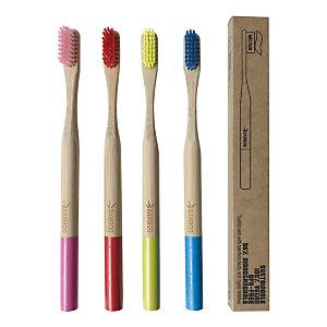 Spazzolino da denti Bamboo Toothbrush, Setole medie, Rosso