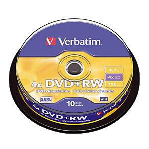 Spindel 10 herschrijfbare DVD+RW 4,7 GB Verbatim SERL 4x