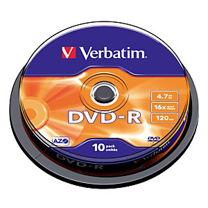 Spindle 10 DVD-R 4,7 Go Verbatim AZO 16x