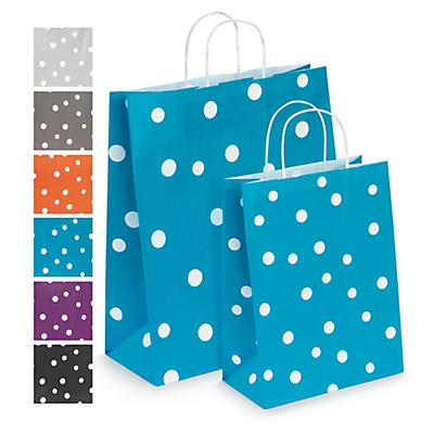 Spotted paper carrier bags with twisted handles