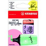 STABILO Boss Mini Pastellove Edition, Marcador fluorescente, punta biselada, 2-5 mm, pizca de menta, brisa violeta y melocoton sedoso