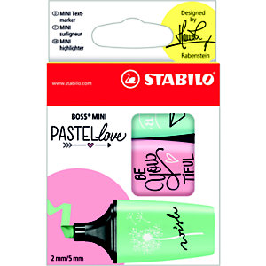 STABILO Boss Mini Pastellove Edition, Marcador fluorescente, punta biselada, 2-5 mm, turquesa, menta y rosa