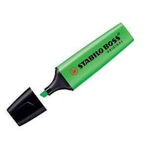 STABILO BOSS® ORIGINAL, Evidenziatore, Punta a scalpello, 2 mm - 5 mm, Verde (confezione 10 pezzi)