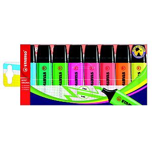 STABILO Boss Original Marcador fluorescente, punta biselada, 2-5 mm, Amarillo, Naranja, Rojo, Rosa, Lila, Verde, Turquesa y Azul