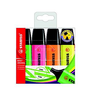 STABILO Boss Original Marcador fluorescente, punta biselada, 2-5 mm, Amarillo, Rosa, Verde y Naranja