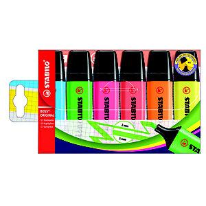 STABILO Boss Original Marcador fluorescente, punta biselada, 2-5 mm, Azul, Naranja, Amarillo, Verde, Rosa y Rojo