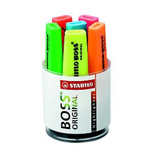 STABILO Boss Original - Surligneur pointe biseautée 2 et 5 mm - Coloris assortis - Pot de 6