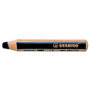STABILO Crayon de coloriage effaçable multi-talents Woody 3 en 1 - Noir
