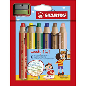 STABILO Etui de 6 crayons de couleur multi usages extra large WOODY, coloris assortis -
