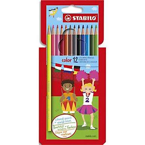 STABILO étui carton de 12 crayons de couleur COLOR. Corps hexagonal. Coloris assortis dont 2 fluo
