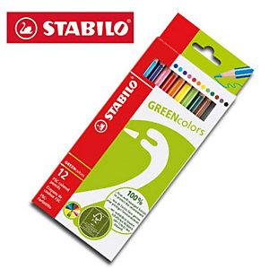 STABILO GREENcolors Pastelli colorati, Fusto esagonale, Colori assortiti (confezione 12 pezzi)