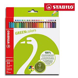 STABILO GREENcolors Pastelli colorati, Fusto esagonale, Colori assortiti (confezione 24 pezzi)